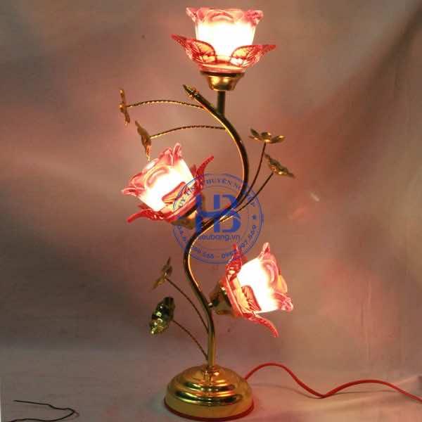 Đèn Thờ Thủy Tinh 3 Bông Đỏ 55cm Đẹp Giá Rẻ ở Hà Nội
