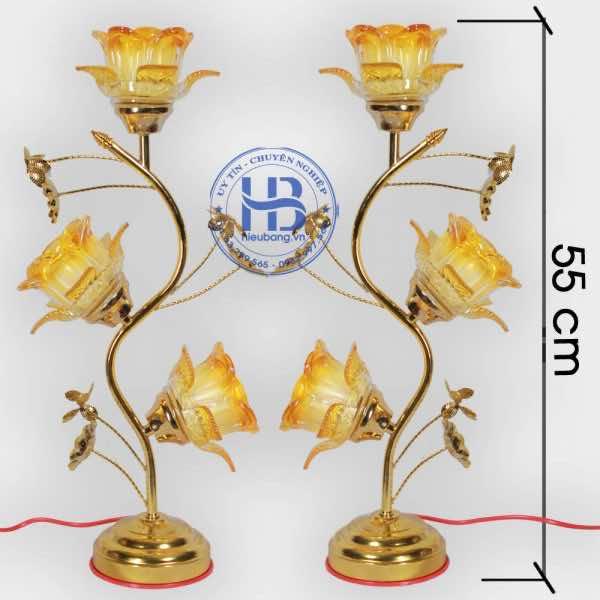 Đèn Thờ Thủy Tinh 3 Bông Vàng 55cm Đẹp Giá Rẻ ở Hà Nội