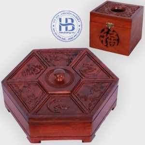Khay đựng mứt tết và hộp giấy vuông đục gỗ Hương đẹp giá rẻ ở Hà Nội