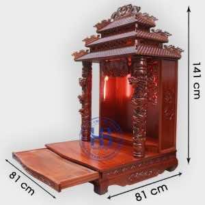 Bàn thờ thần tài gỗ lát Hương 81cm cao cấp tại Hà Nội
