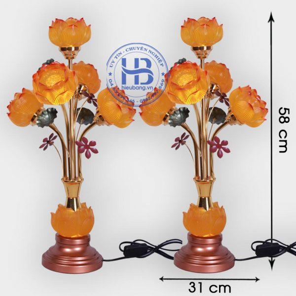 Đèn thờ lưu ly 5 bông hoa sen cao cấp đẹp giá rẻ tại Hà Nội
