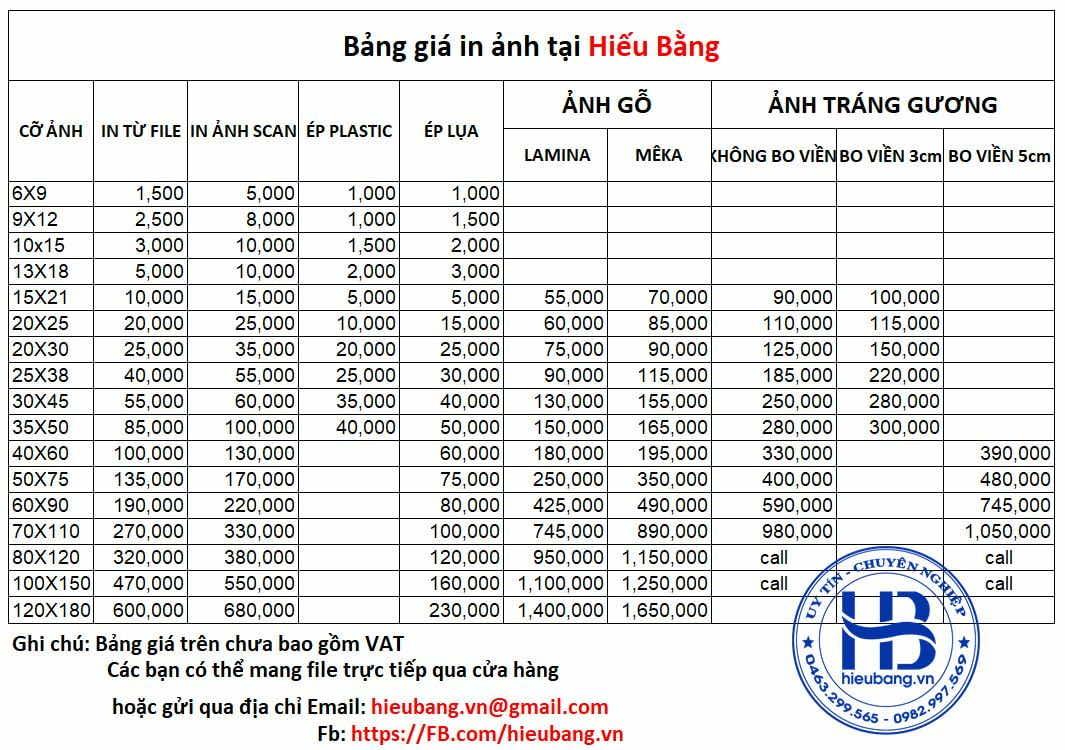 Bảng Giá In Ảnh Rửa Ảnh Đẹp Giá Rẻ ở Hà Nội