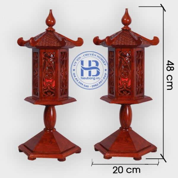 Đèn thờ gỗ Hương cao cấp đục Mái cao 48cm Đẹp ở Hà Nội | Có Hình Ảnh và Video Chi tiết