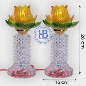 Đèn Thờ Hoa Sen Thủy Tinh Vàng 28cm Đẹp Giá Rẻ ở Hà Nội | Hiếu Bằng .VN