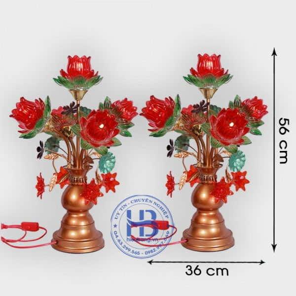 Đèn Thờ Led 5 Bông Sen Thủy Tinh Đỏ 56cm Đẹp Giá rẻ ở Hà Nội