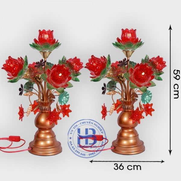 Đèn Thờ Led 5 Bông Sen Thủy Tinh Đỏ 59cm Đẹp Giá rẻ ở Hà Nội
