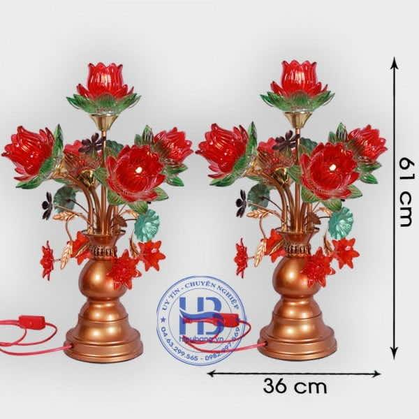 Đèn Thờ Led 5 Bông Sen Thủy Tinh Đỏ 61cm Đẹp Giá rẻ ở Hà Nội