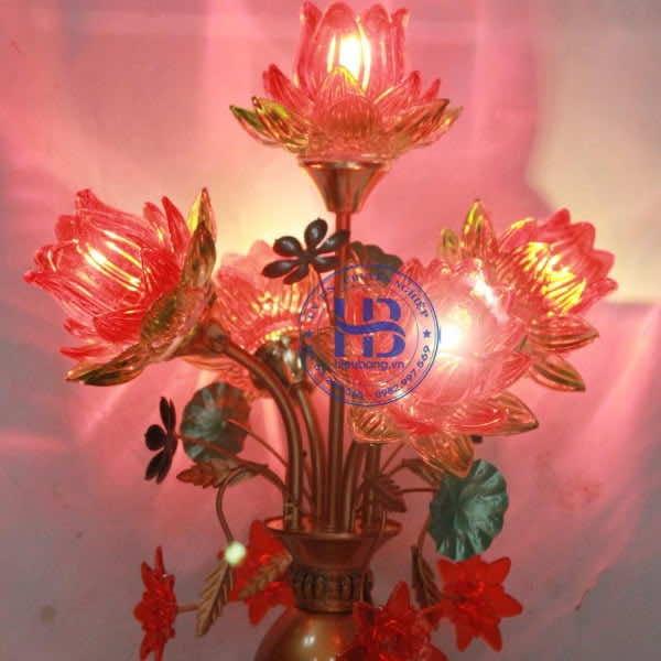 Đèn Thờ Led 5 Bông Sen Thủy Tinh Đỏ Đẹp Giá rẻ ở Hà Nội