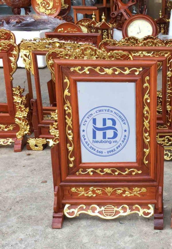 Khung Ảnh Thờ Dát Vàng Kép Nền Gỗ Hương 20x30cm tại Hà Nội   Hiếu Bằng.VN