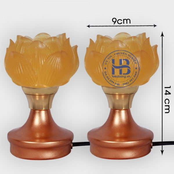 Đôi Đèn Hoa Sen Thủy Lưu Ly 1 Bông Cao 14cm Đẹp Giá Rẻ Hà Nội