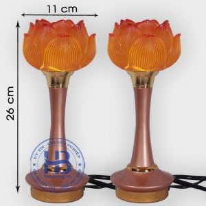 Đôi Đèn 1 Bông Hoa Sen Nở Thủy Lưu Ly Cao 26cm Đẹp Tại Hà Nội | Hiếu Bằng .VN